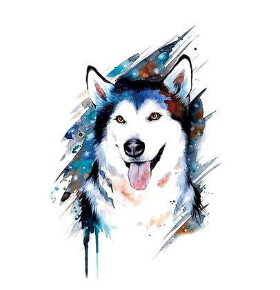 husky dog  temp tattoo | כלב האסקי