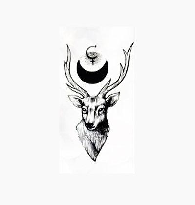 Deer moon small temp tattoo | צבי וחצי ירח