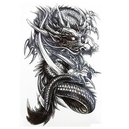 Big black dragon tattoo / דרקון שחור