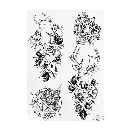 mix animals , flowers, deer, cat, tigris | מיקס פרחים חיות