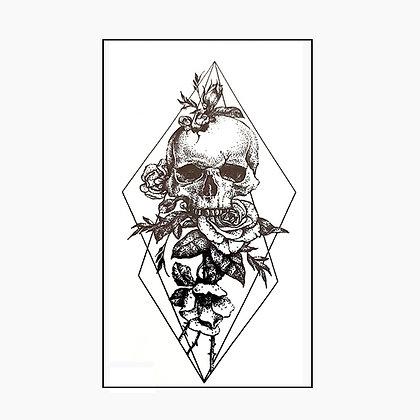 skull small tattoo |  גולגולת גיאומטרי