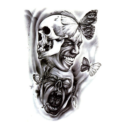 Hallween scary skull tattoo   גולגולת האלווין מסיכה