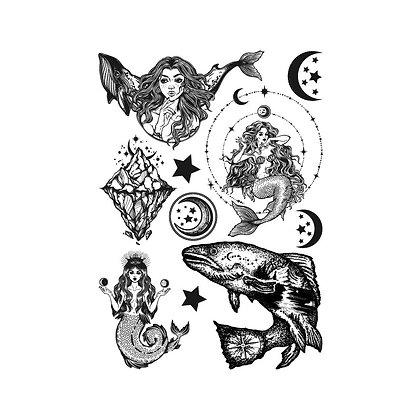 Mix Sea creatures temporary tattoo | מיקס בתולת ים דולפין