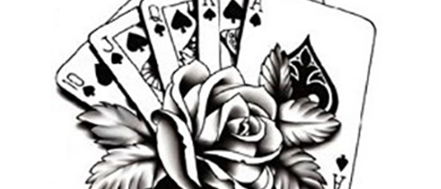 playing cards  poker temporary tattoo | קעקוע זמני קלפים פוקר