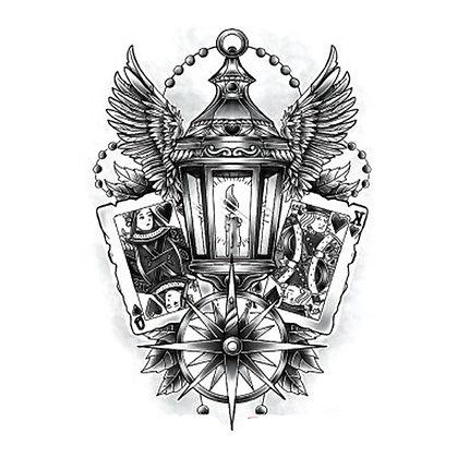 card lamp fortune temporary tattoo | מנורת המזל