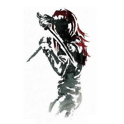 fighter sword girl  temp tattoo | נערת חרבות לוחמת