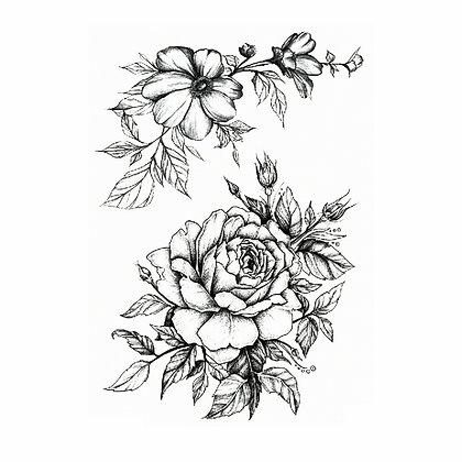 Black flowers temp tattoo | פרחים שחורים