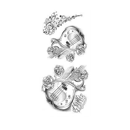 Guitar temporary tattoo |  קעקוע זמני גיטרה תווים ושושנים
