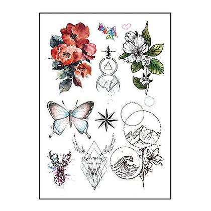 mix flowers butterfly deer temp tattoo |   מיקס פרחים צבי גלים הר