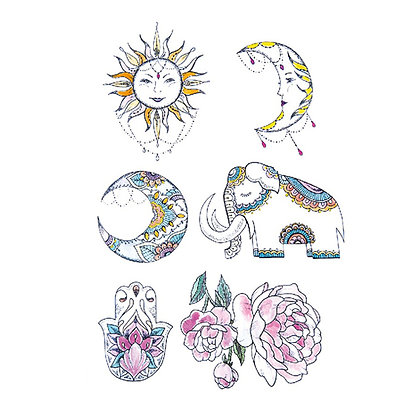 sun moon elephant flower mix pastel temp tattoo | מיקס פסטל