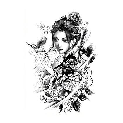Chinese woman birds flowers temporary tattoo | פרחים ציפורים אישה סינית
