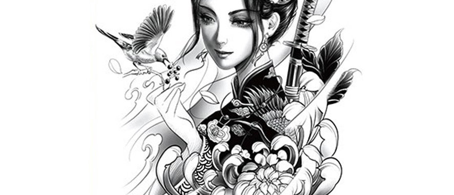 Chinese woman birds flowers temporary tattoo   פרחים ציפורים אישה סינית
