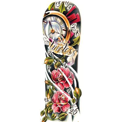 clock flowers sleeve tattoo | שרוול שעון פרחים