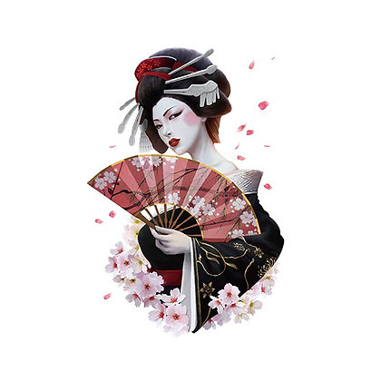 Japanese Geisha temp tattoo  קעקוע זמני גיישה יפנית