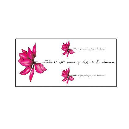 pink flower text temporary tattoo |  קעקוע זמני פרח עדין טקסט