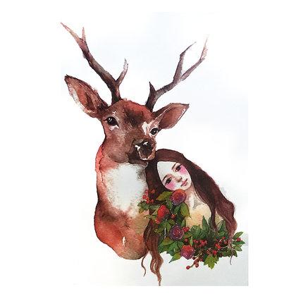 Deer & woman temp tattoo | נערה וצבי