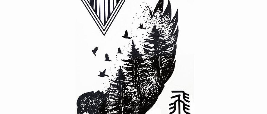 birds tree tattoo | ציפור ועצים