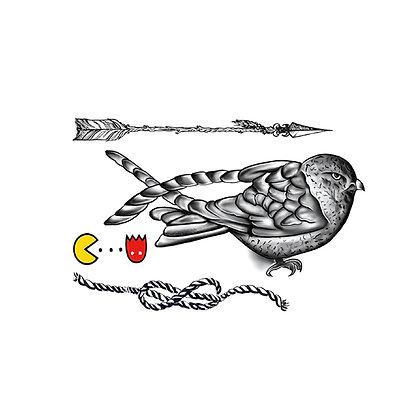 bird rope temp tattoo | ציפור חבל חץ