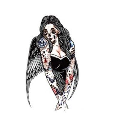 skull Angel temp tattoo   מלאך אישה גולגולת