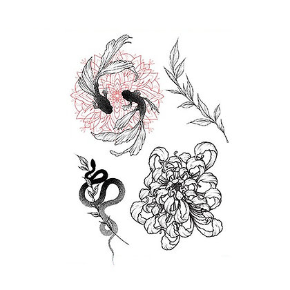 mix fish snake flowers  tattoo    מיקס פרחים דגים נחש