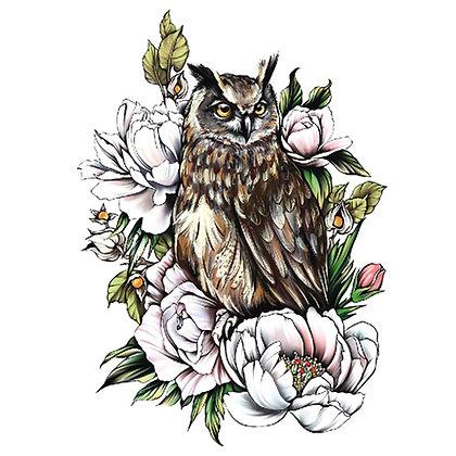 colored owl flowers  temp tattoo| ינשוף צבעוני פרחים