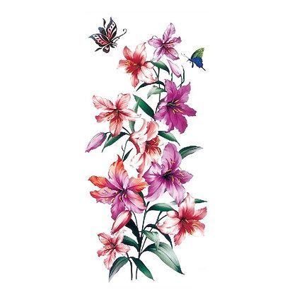 flowers pink temporary tattoo   קעקוע זמני פרחים סחלבים