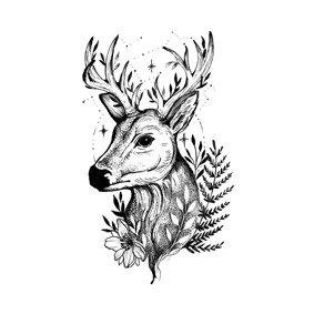 Deer black temp  tattoo | צבי שחור פרח