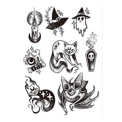 halloween goast bat cat candle black temp  tattoo | האלווין יצורים