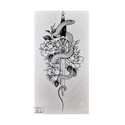 snake flowers temporary tattoo | נחש חרב פרחים קעקוע זמני