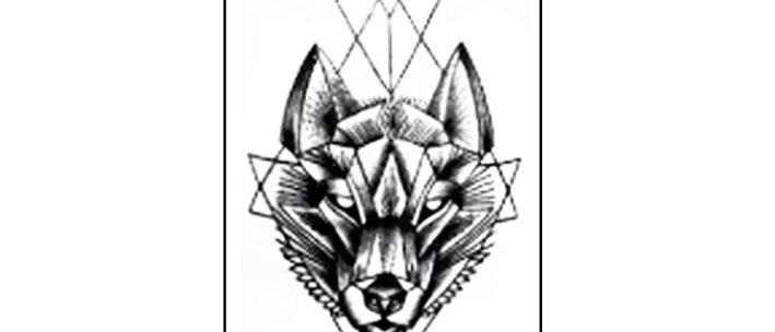 Geometric wolf text small tattoo |  קעקוע קטן זאב גיאומטרי