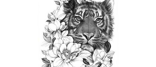 tiger flowers temp tattoo | נמר פרחים