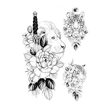 Black lion tigers flower mix tattoo | קעקוע זמני מיקס אריה נמר פרח