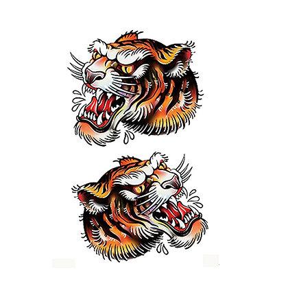 tigers old school temp tattoo |טיגריס קעקוע זמני