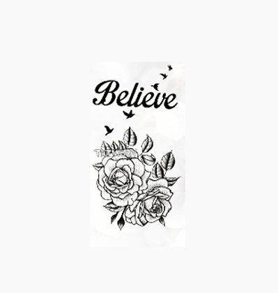 flower text believe small temp tattoo | פרחים וטקסט