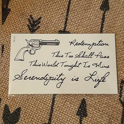 gun and text small tattoo | אקדח וטקסט קטן