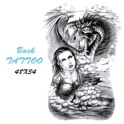 back/leg/chess temporary tattoo dragon woman | קעקוע ענק אישה דרקון