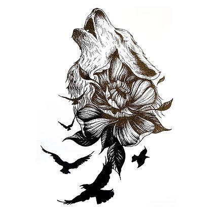 Wolf  flower black temp  tattoo | זאב ציפורים פרח