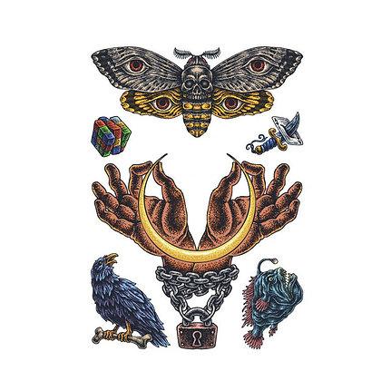 Mix butterfly hands  tattoo | מיקס פרפר ידיים דג