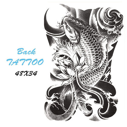 big back fish temporary tattoo dragon woman |קעקוע זמני ענק דג