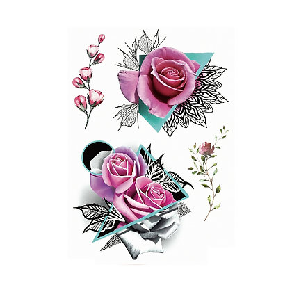 copy of triangular flowers temp tattoo     2משולשי פרחים