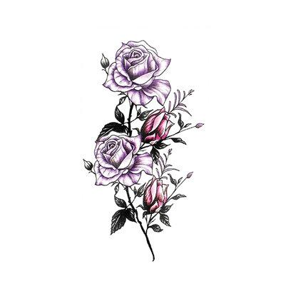 purple flowers temporary tattoo |  קעקוע זמני פרחים סגולים