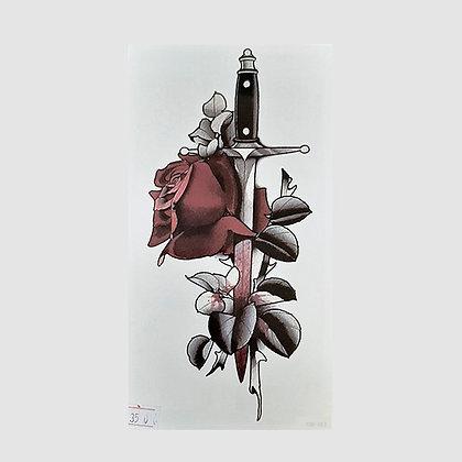 sword red flower temporary tattoo | חרב שושנה אדומה