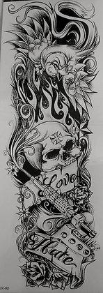 skulls sleeve tattoo | שרוול גולגולות שחור