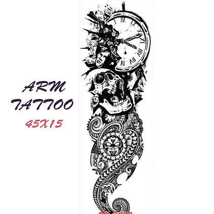 Skull clock tribal  sleeve tattoo |  שרוול גולגולת טרייבל שעון