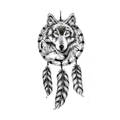 wolf dream catcher temporary tattoo | קעקוע זמני זאב לוכד חלומות
