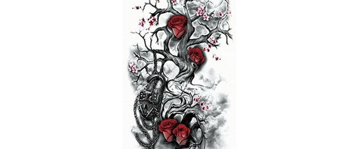 skull tree sleeve tattoo | שרוול עץ גולגולות