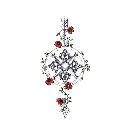 Anchor flowers temporary tattoo | קעקוע זמני מצפן פרחים