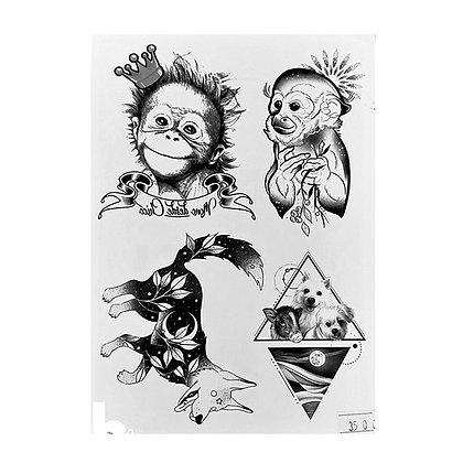 mix animals monkey dogs temp tattoo | מיקס קופים כלבים