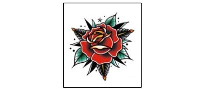 red flower temp tattoo   קעקוע זמני ורד אדום