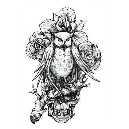 owl skull  temporary tattoo | גולגולת פרח ינשוף